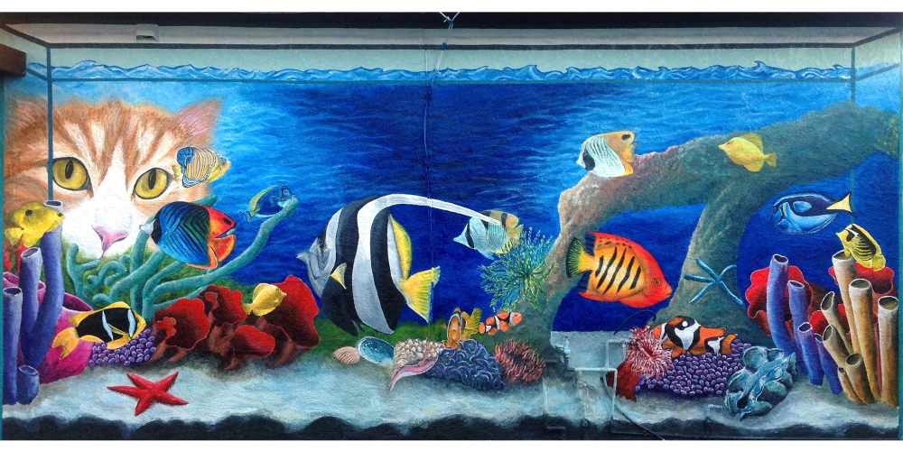 Star arts studio suzanne gayle mural art hayward for Aquarium mural gifi